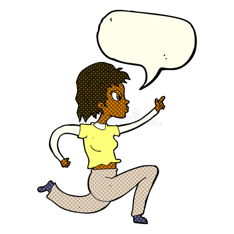 Cartoon woman running and pointing with speech bubble stock illustration