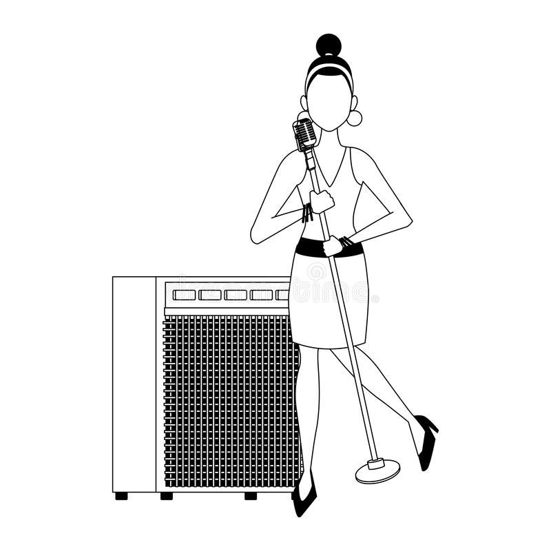 Cartoon woman singer, flatdesign royalty-vrije illustratie