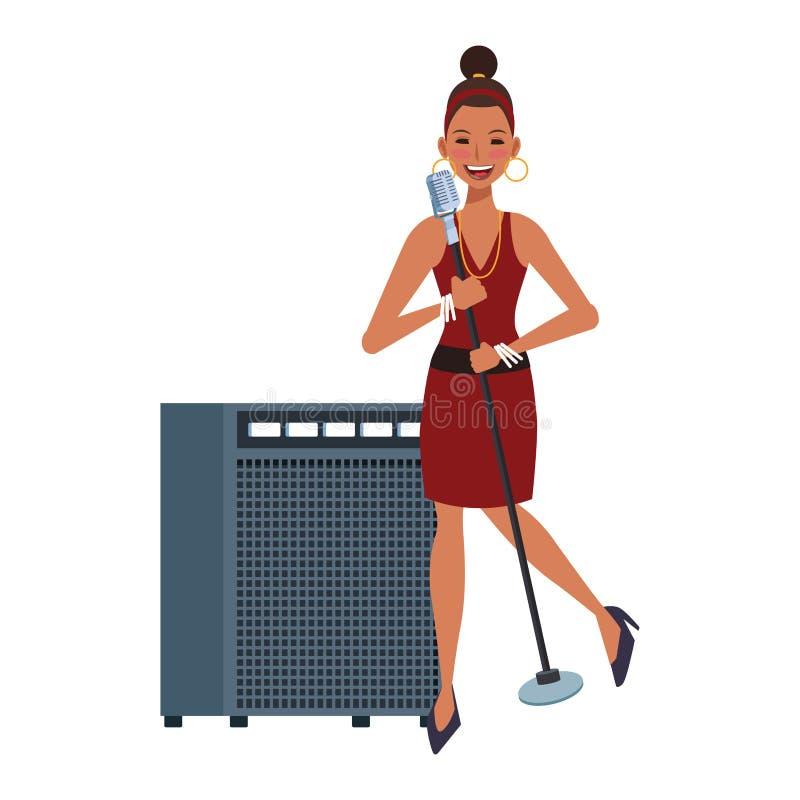 Cartoon woman singer, kleurrijk platte design royalty-vrije illustratie