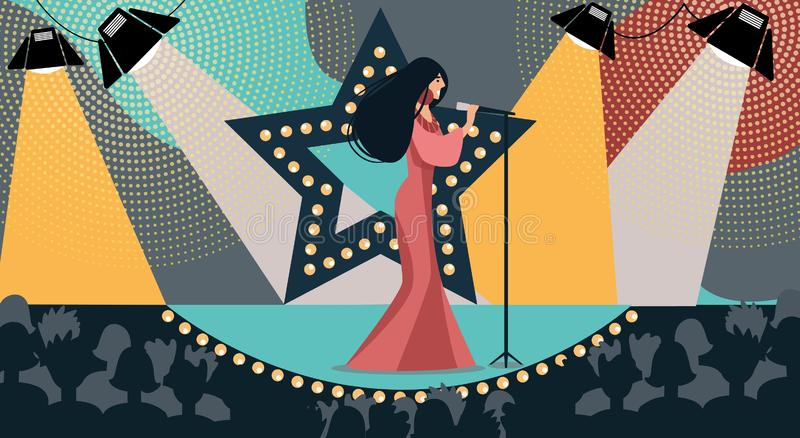 Cartoon Woman on Stage Sing Song Hold Microphone. Cartoon Woman in Dress on Stage Sing Song Holding Microphone Hand Vector Illustration. TV Talent Show Live vector illustration