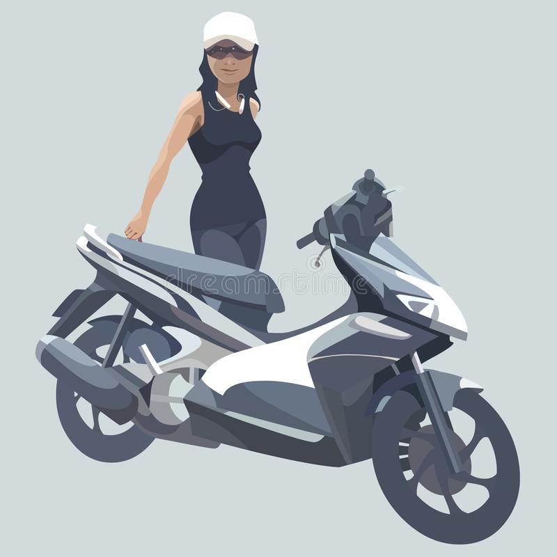 Cartoon woman standing next to a black motorcycle vector illustration