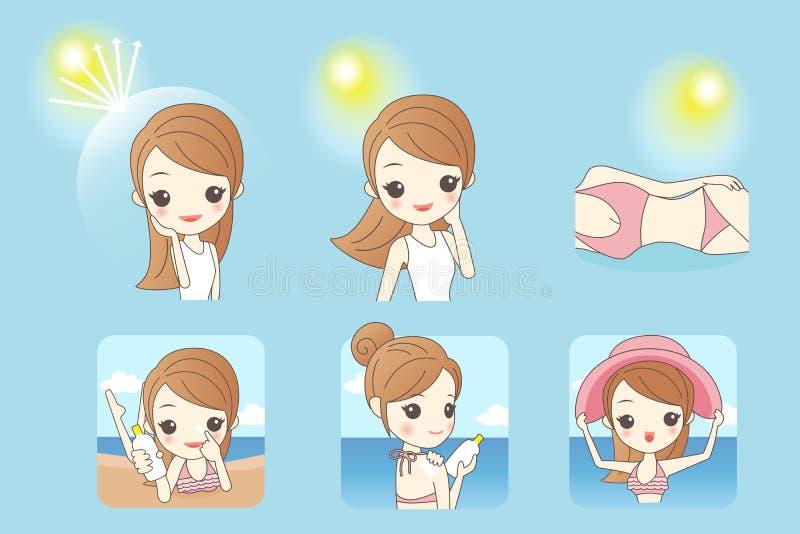 Cartoon woman with sunshine vector illustration