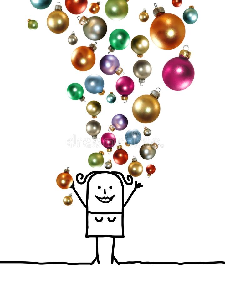 Cartoon Woman Throwing Up a Colorful Christmas Balls Set royalty free illustration