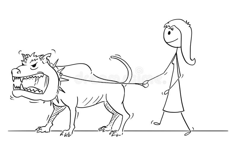 Cartoon of Woman Walking With Beast Monster Dangerous Big Dog on a Leash. Cartoon stick drawing conceptual illustration of woman walking with big or giant vector illustration