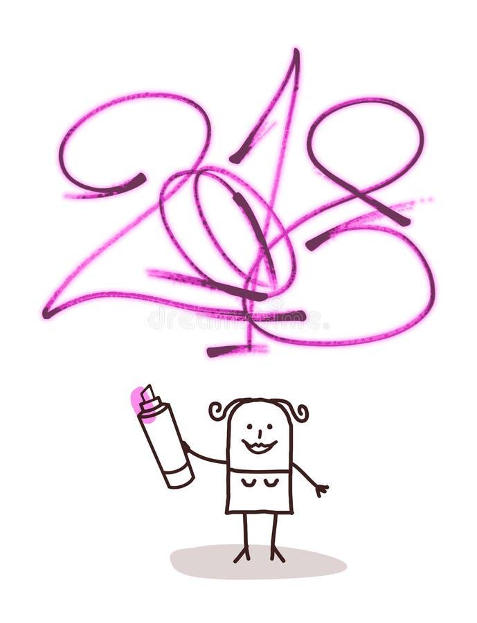 Cartoon woman Writing a 2018 Pink Purple Sign vector illustration