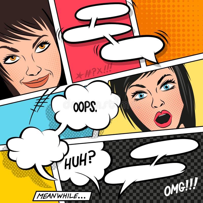 Cartoon Women and Speech Bubbles royalty free illustration
