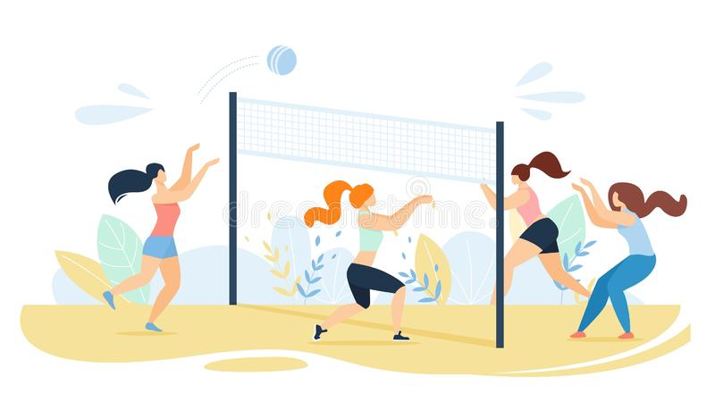 Cartoon Women Team Characters Playing Volleyball royalty free illustration