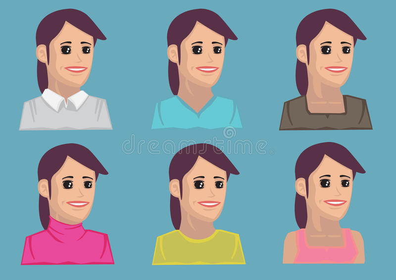 Cartoon Women Vector Icon. Set of six bust portraits of cartoon women with dimples wearing colorful blouses in three quarter view. vector icons isolated on blue royalty free illustration