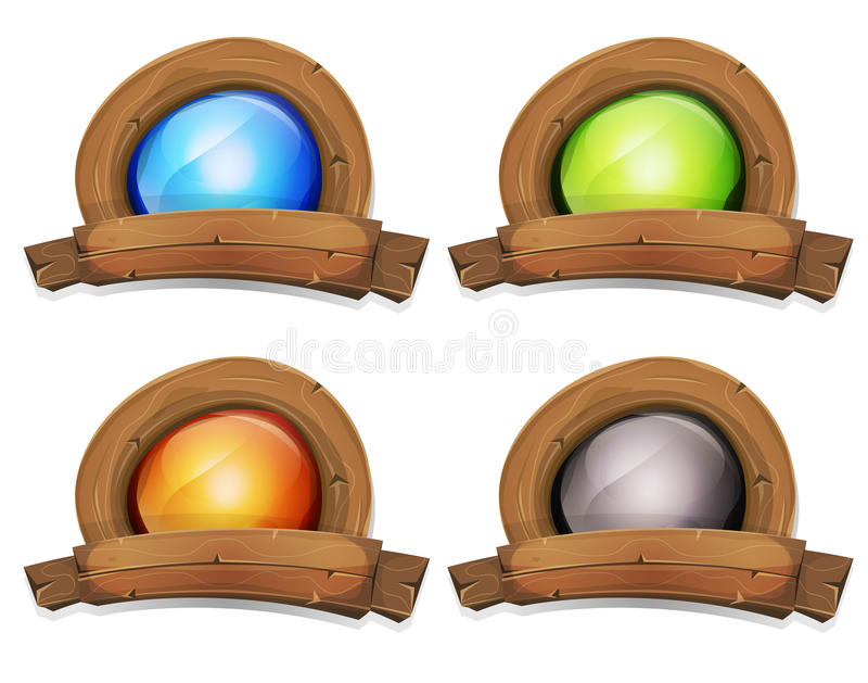 Cartoon Wood Award Banner With Light Screen. Illustration of a cartoon design wooden badge and banner with enlightened screen inside, for farm and agriculture stock illustration