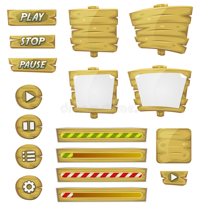 Free Cartoon Wood Elements For Ui Game Stock Photo - 39355780