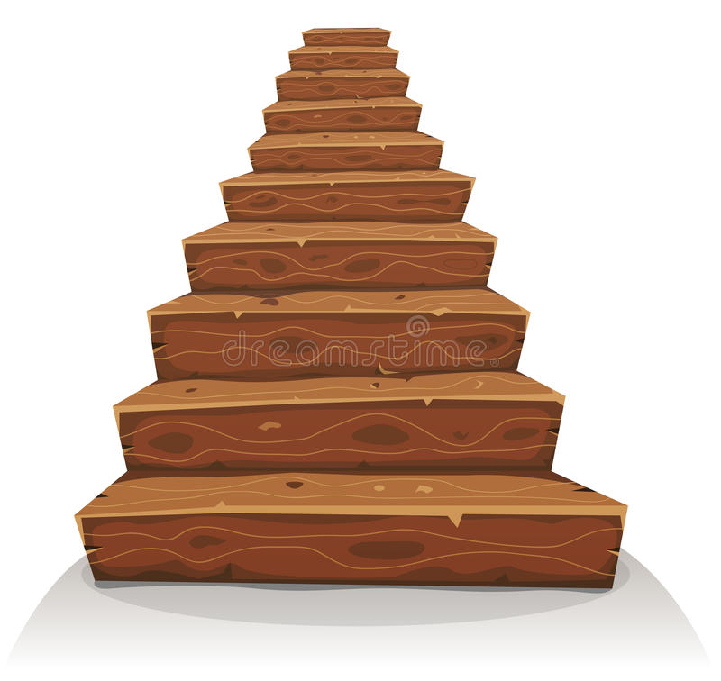 Cartoon Wood Stairs stock illustration