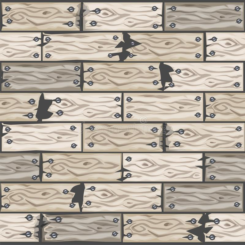 Wood whitened floor tiles pattern. Seamless texture wooden parquet board. Vector illustration for user interface of the game. Cartoon wood whitened floor tiles royalty free illustration
