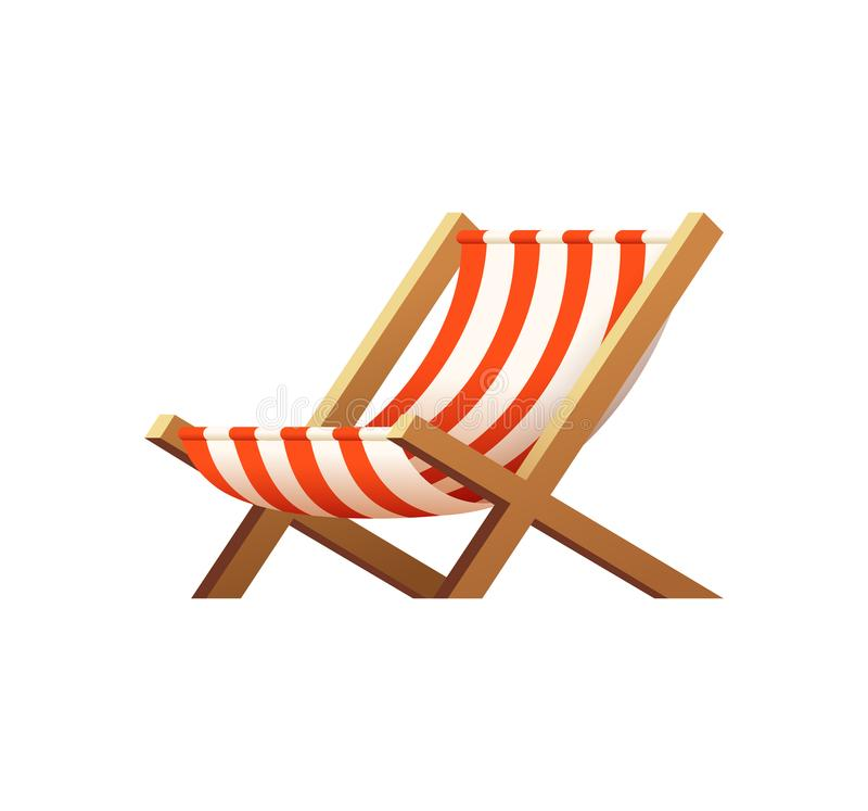 Download Cartoon Wooden Beach Chaise Lounge. Beach Chair Illustration.  Stock Illustration   Illustration Of