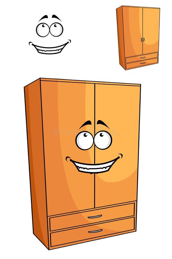 Cartoon wooden bedroom cupboard or wardrob stock illustration