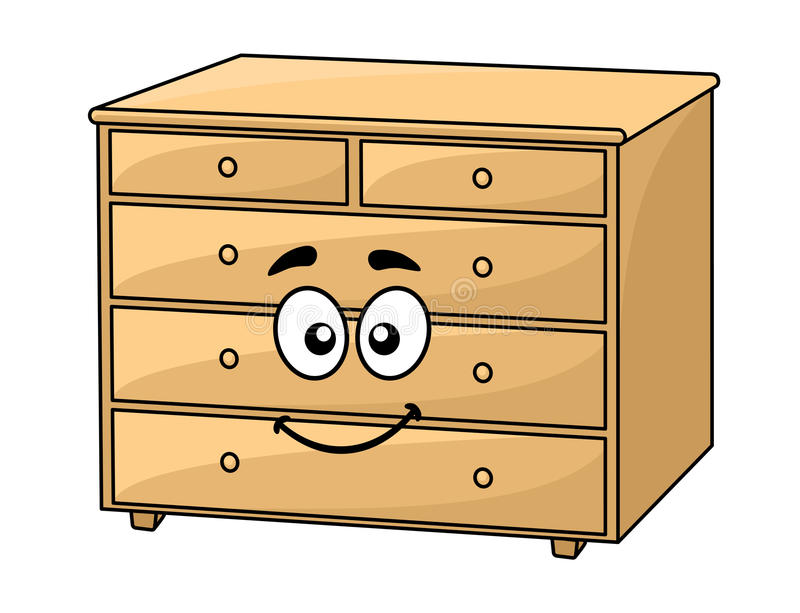 Cartoon wooden chest of drawers royalty free illustration