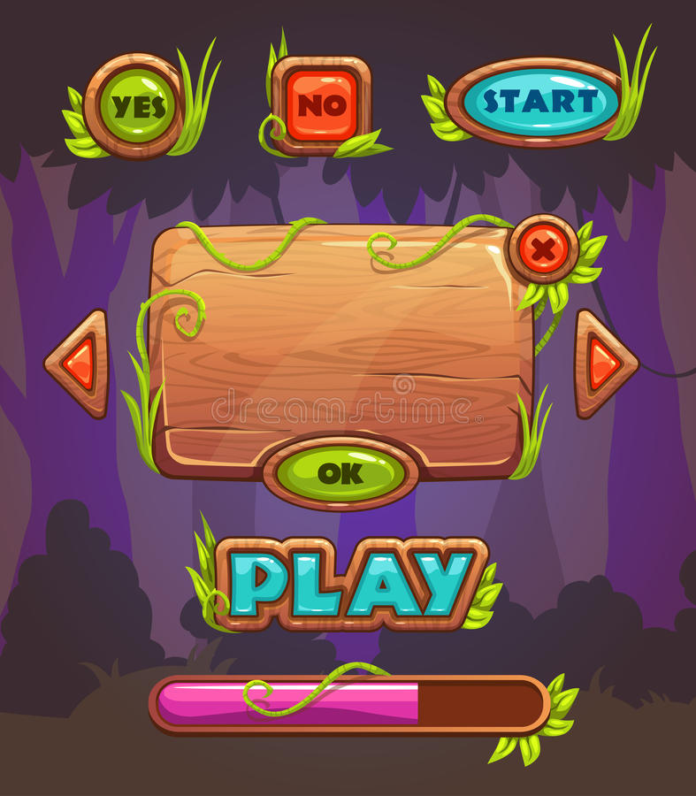 Cartoon wooden game user interface royalty free illustration
