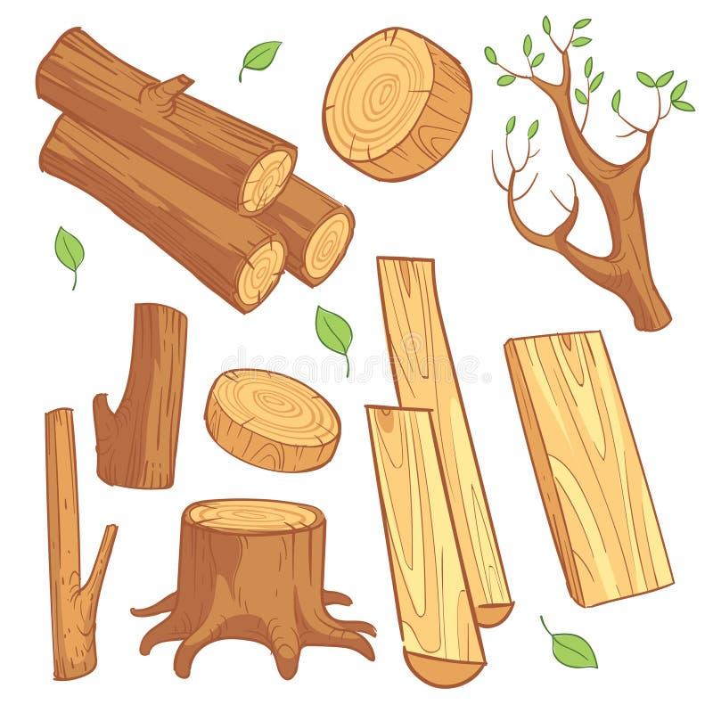 Cartoon wooden materials, lumber, firewood, wood stump vector set vector illustration