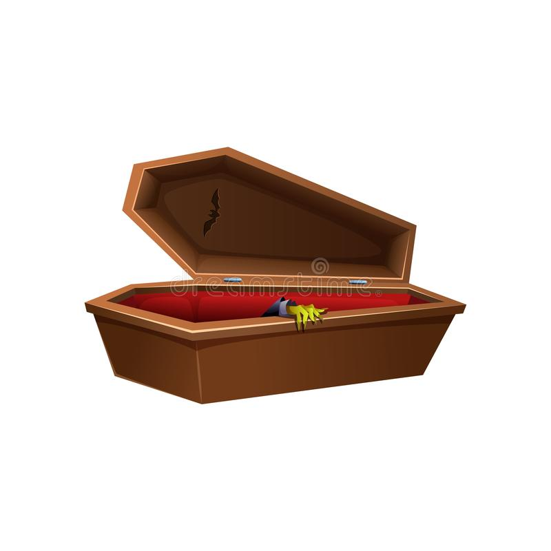 Cartoon wooden open coffin. Hand reaches out of the casket. royalty free illustration