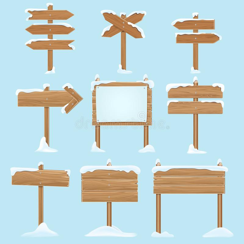 Cartoon wooden signs with snow. Christmas winter holidays vector elements vector illustration