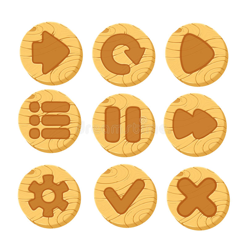 Cartoon wooden vector buttons for game royalty free illustration