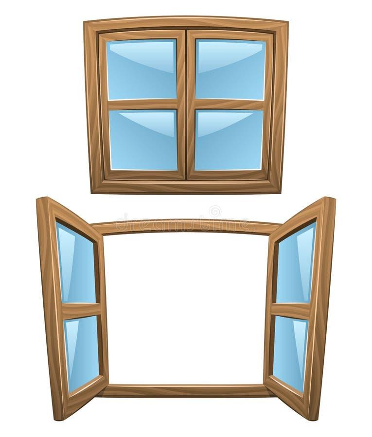 Cartoon Wooden Windows Stock Image