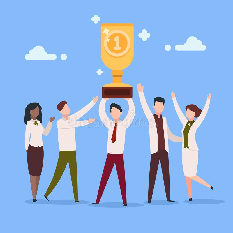 Cartoon work award. Office employee work reward businessman character professional prize people group. Success awards stock illustration