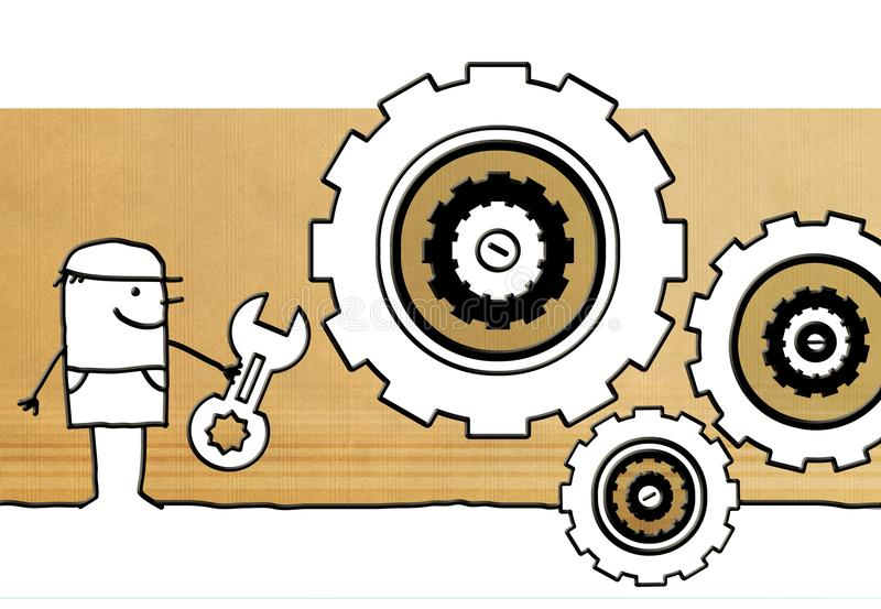 Cartoon worker with tool and big gears vector illustration
