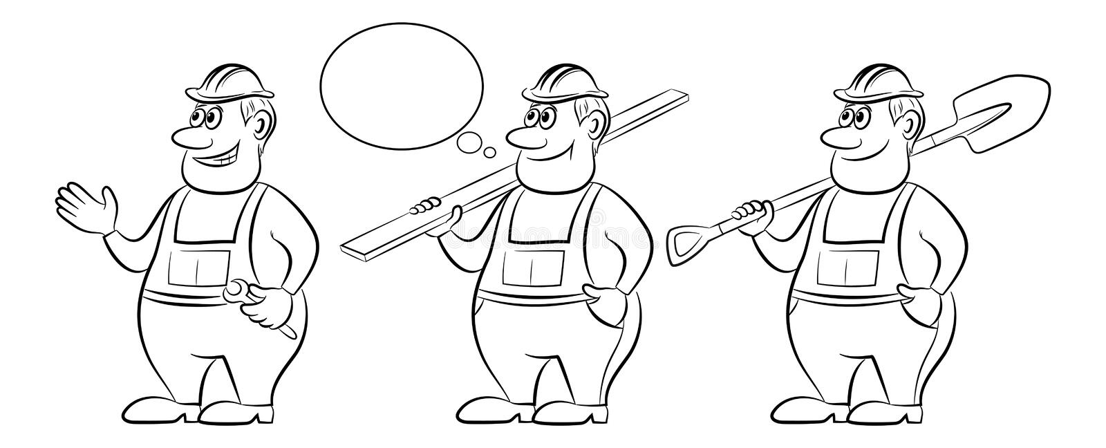 Cartoon Workers, Contours. Cartoon Workers in Overalls, Set. With a Board, Spanner and Shovel. Black Contours Isolated on White Background. Vector vector illustration