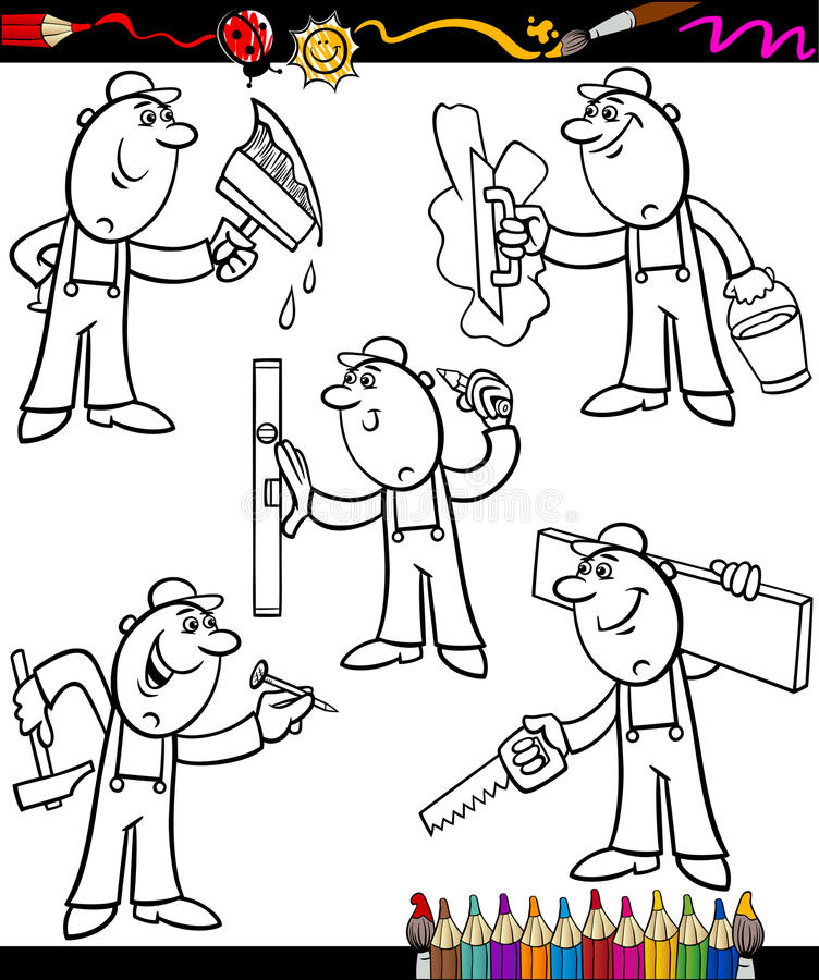 Cartoon workers set for coloring book royalty free illustration