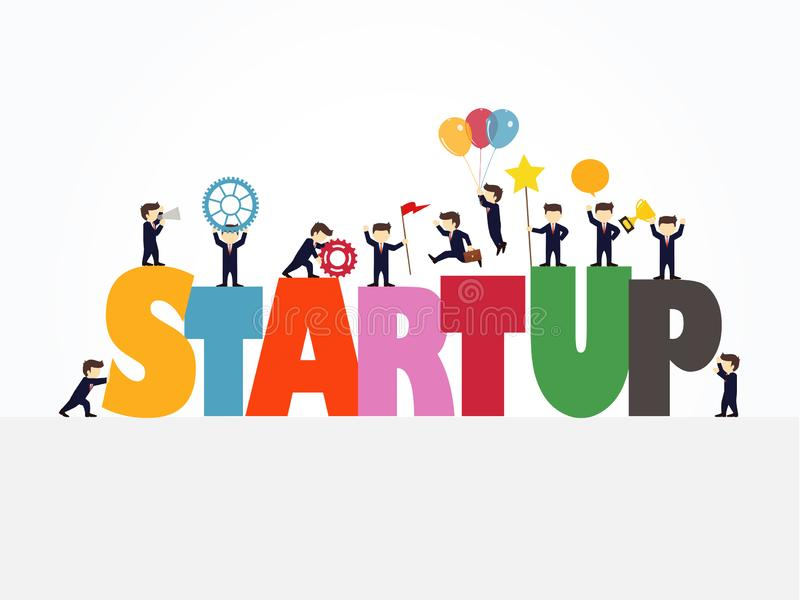 Cartoon working little people with big word Startup. business design and infographic stock illustration