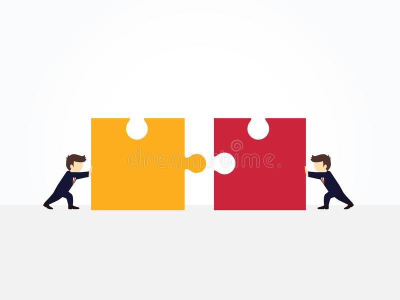 Cartoon working little people pushing huge pieces of one puzzle towards each other. business design and. Cartoon working little people pushing huge pieces of one vector illustration
