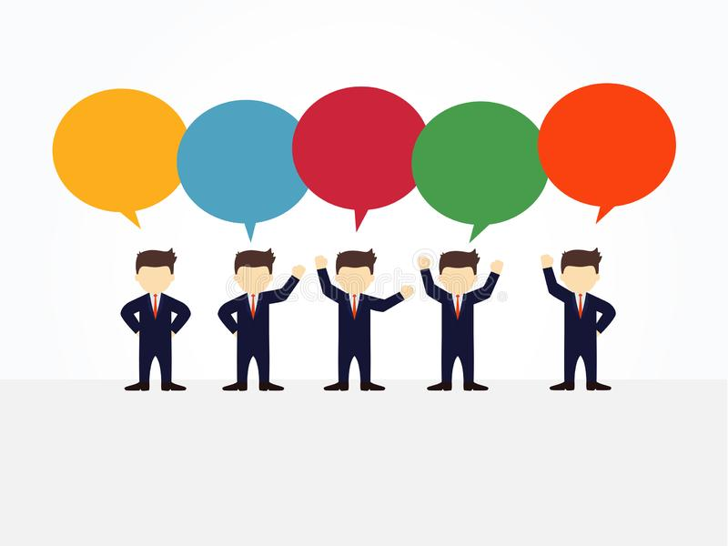 Cartoon working little people with speech bubbles, business design and infographic stock illustration
