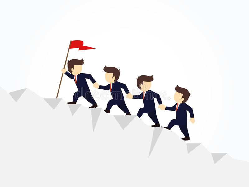 Cartoon working little people trying to climb up mountain holding each others hands. Vector illustration for business design stock illustration