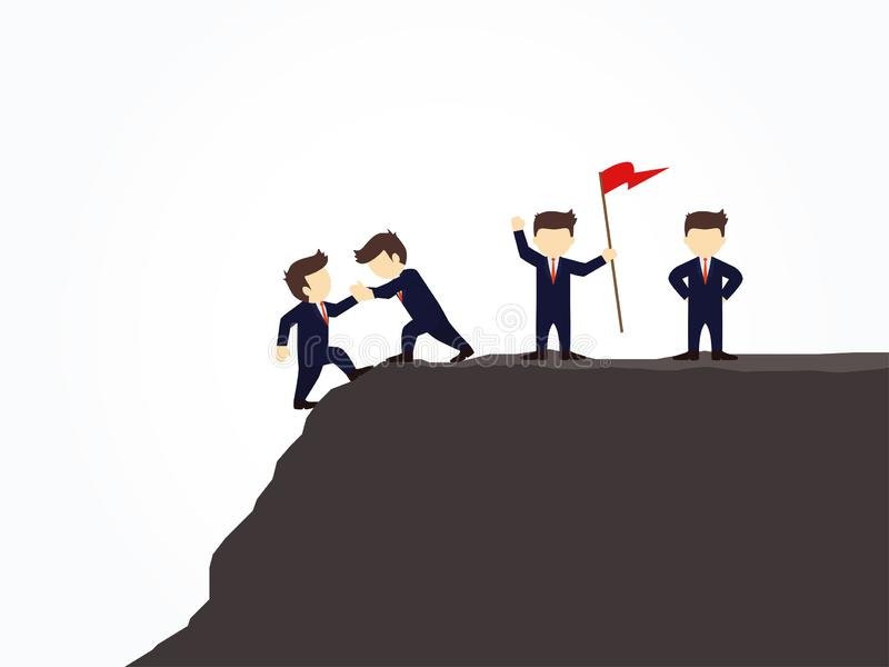 Cartoon working little people trying to climb up mountain holding each others hands. Vector illustration for business design. And infographic stock illustration