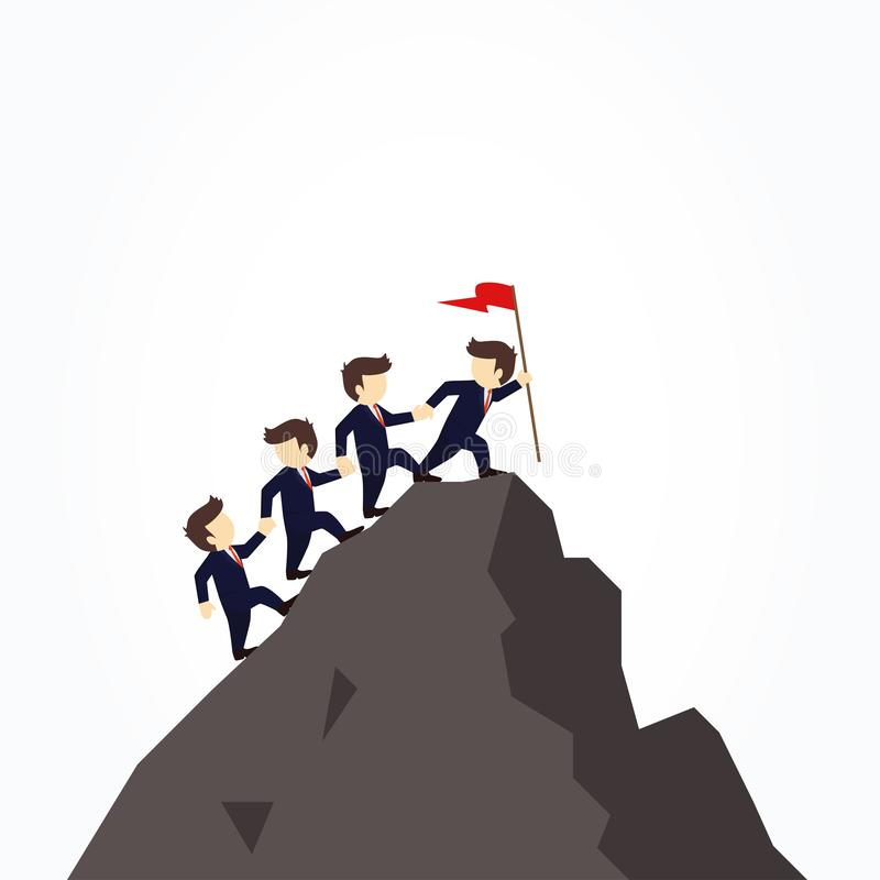 Cartoon working little people trying to climb up mountain holding each others hands. Vector illustration for business design. Cartoon working little people stock illustration