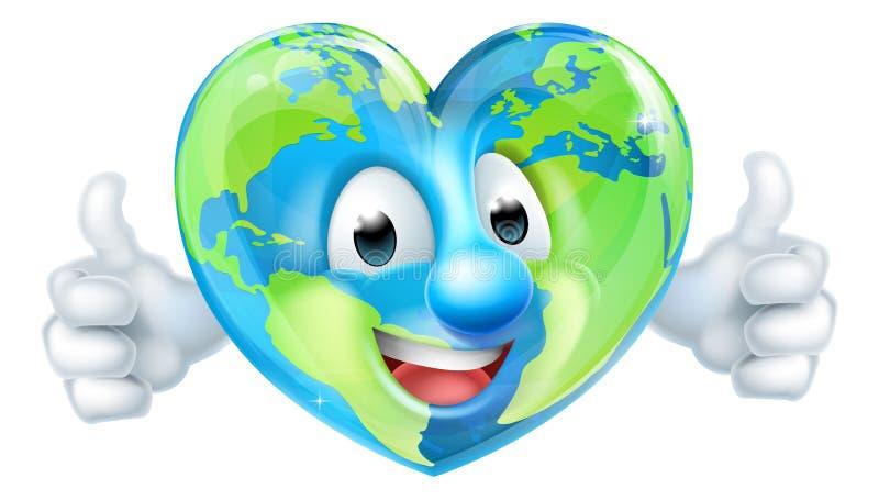 Cartoon World Earth Day Heart Thumbs Up Character. An earth day world globe thumbs up mascot heart cartoon character vector illustration