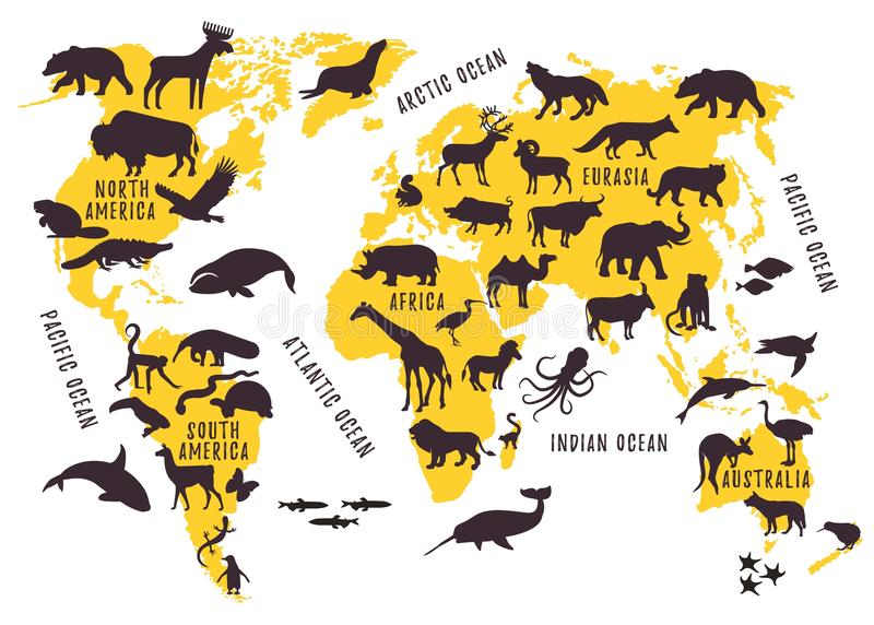 Cartoon World Map with Animals Silhouettes for Kids. stock illustration