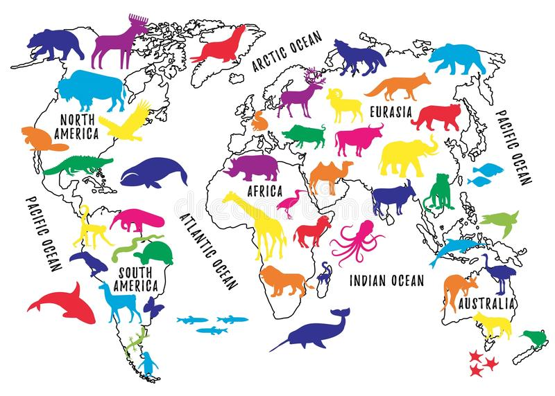 Cartoon World Map with Animals Silhouettes for Kids. royalty free illustration