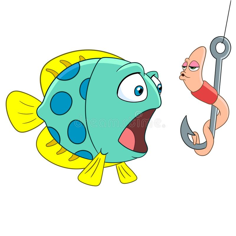 Cartoon worm kissing a fish stock images