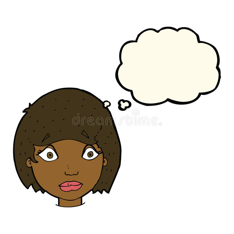 cartoon worried female face with thought bubble stock illustration