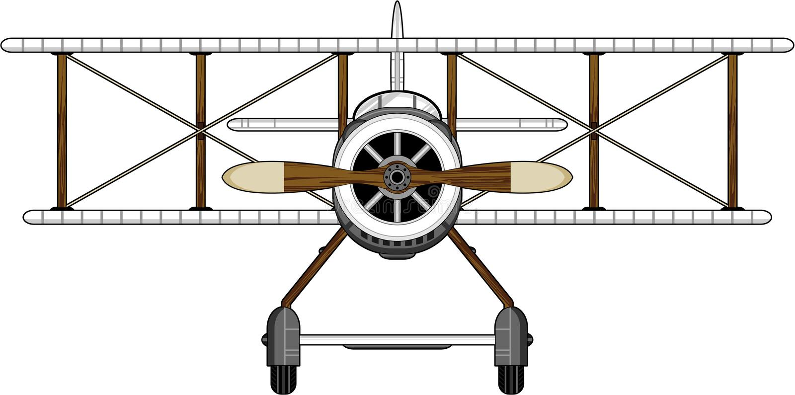 Cartoon WW1 Biplane. Front View Vector Illustration of a World War One Classic Biplane. An EPS file is also available royalty free illustration