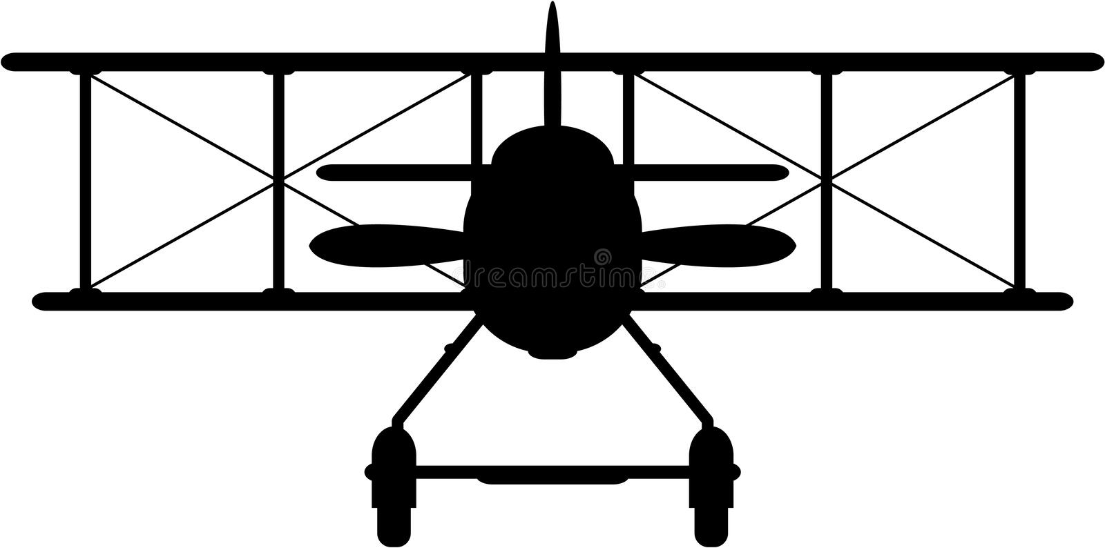 Cartoon WW1 Biplane Silhouette. Side View Vector Illustration of a World War One Classic Biplane in Silhouette. An EPS file is also available vector illustration