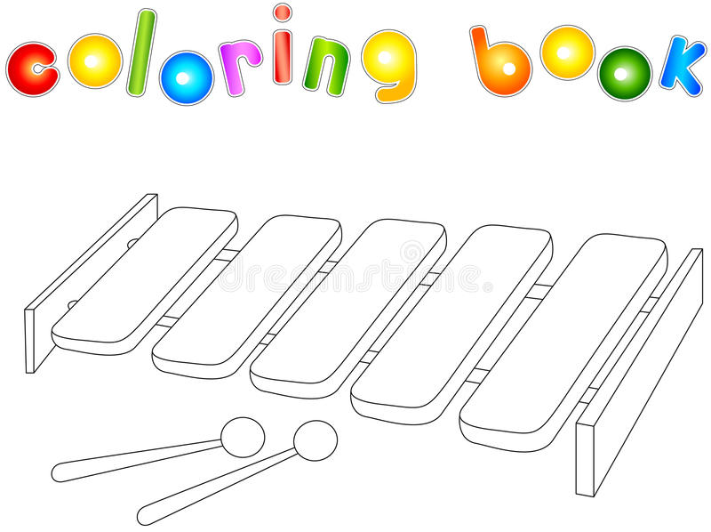 Download Cartoon Xylophone Coloring Book Stock Vector
