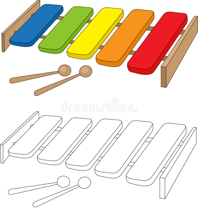 Cartoon Xylophone Coloring Book Stock Vector ...