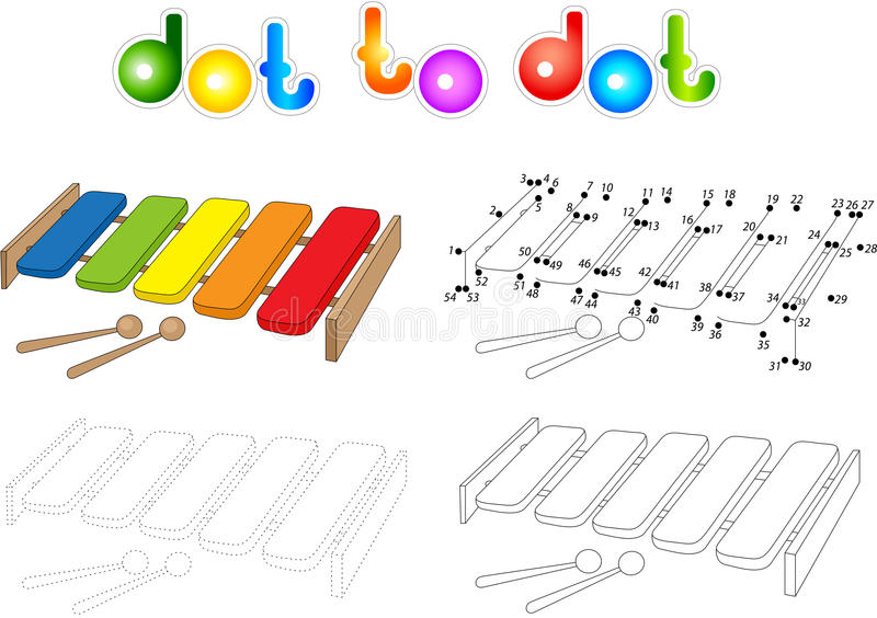 Download Cartoon Xylophone Coloring Book On White Dot To Ga Stock Vector