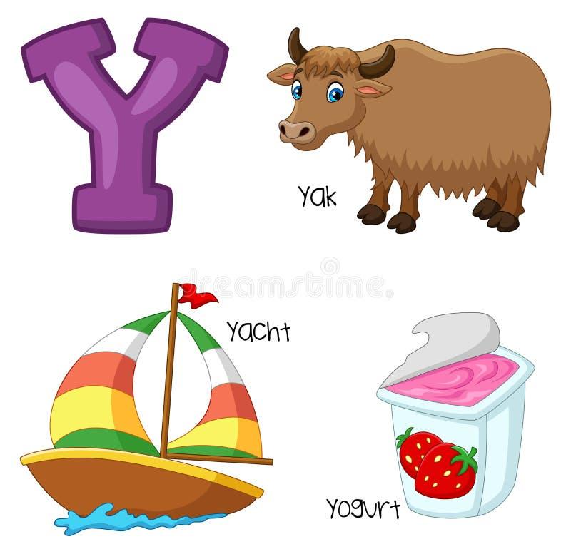 Cartoon Y alphabet. Illustration of Cartoon Y alphabet vector illustration