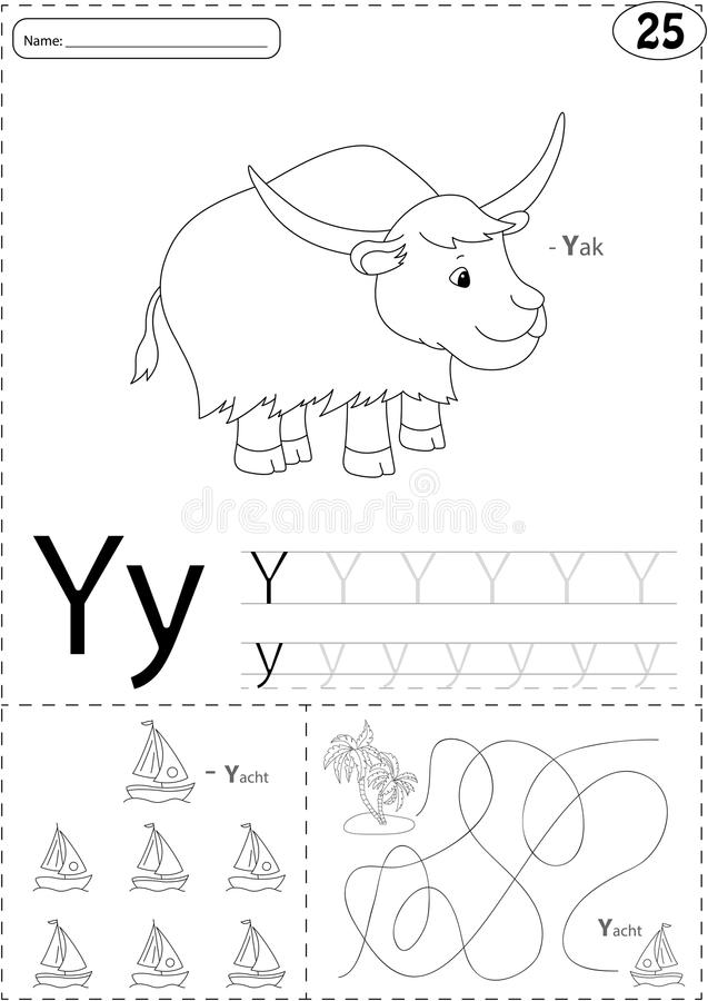 Cartoon yak and yacht. Alphabet tracing worksheet: writing A-Z a vector illustration