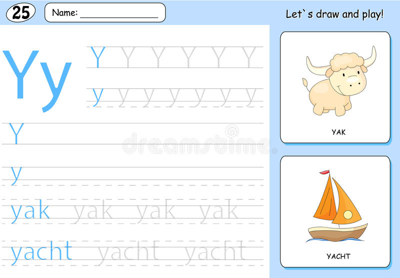 Cartoon yak and yacht. Alphabet tracing worksheet. Writing A-Z, coloring book and educational game for kids vector illustration