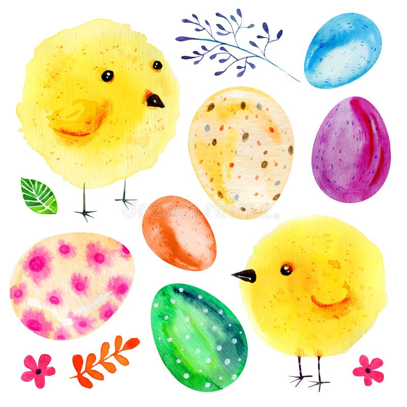 Cartoon yellow baby chikens, Easter eggs and flowers. Hand drawn watercolor illustration set royalty free illustration