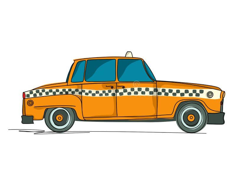 Cartoon yellow cab. Against white background royalty free illustration